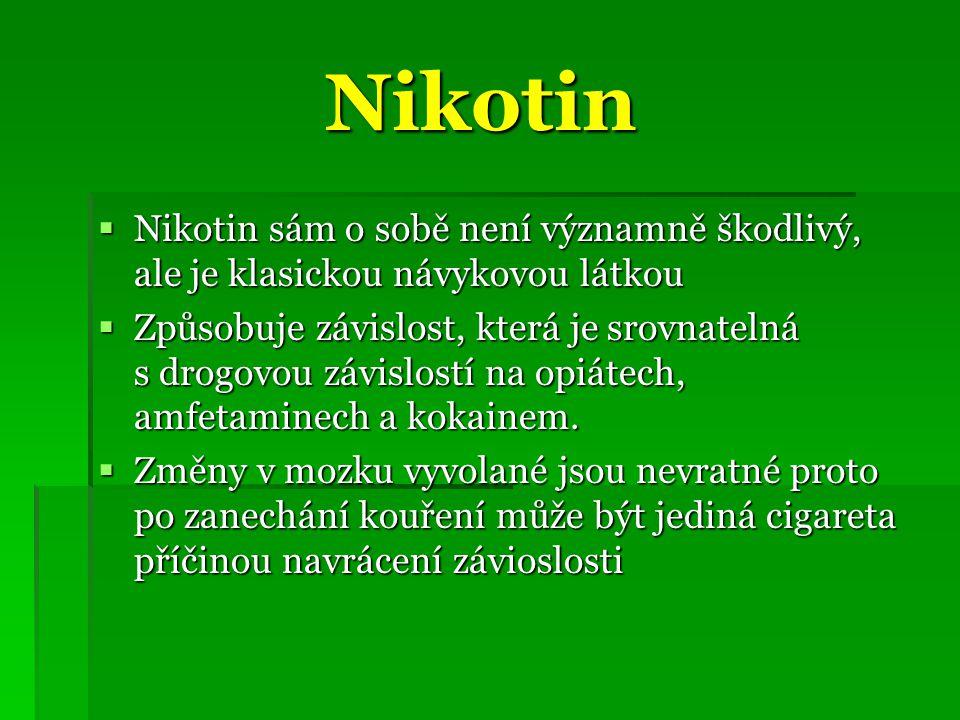 Nikotin Nikotin sám o sobě není významně škodlivý, ale je klasickou návykovou látkou.