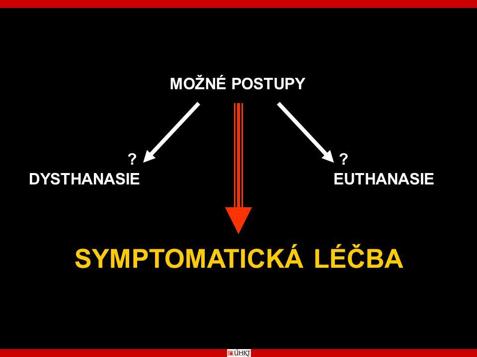 MOŽNÉ POSTUPY DYSTHANASIE EUTHANASIE SYMPTOMATICKÁ LÉČBA
