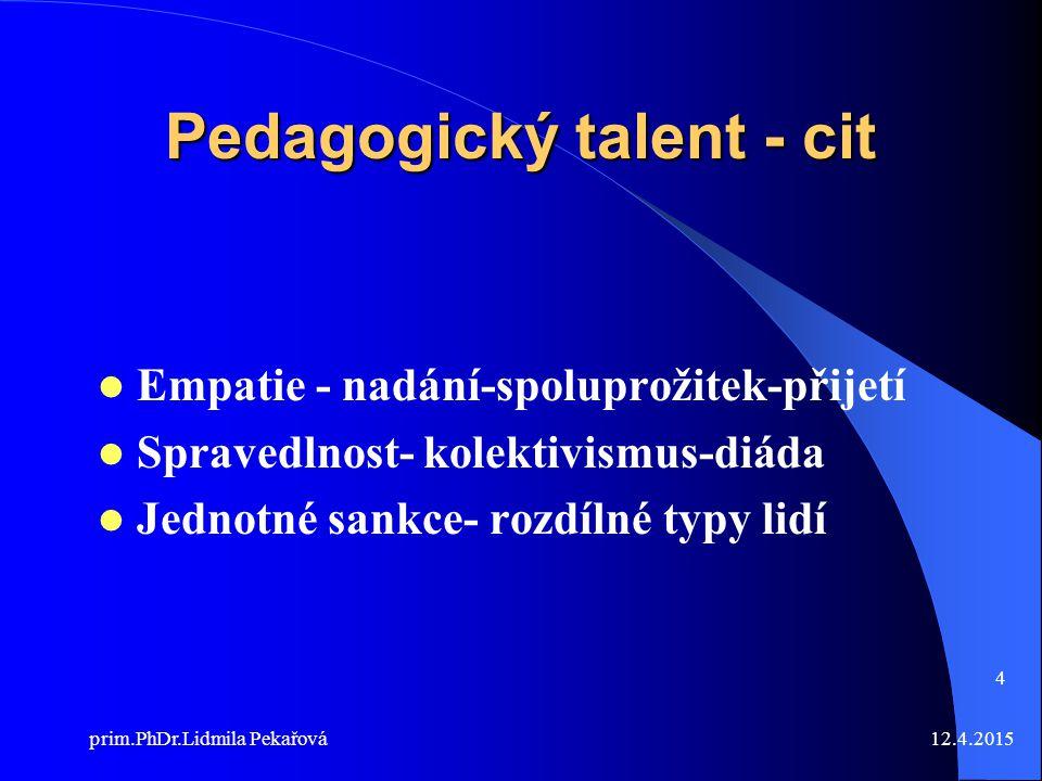 Pedagogický talent - cit