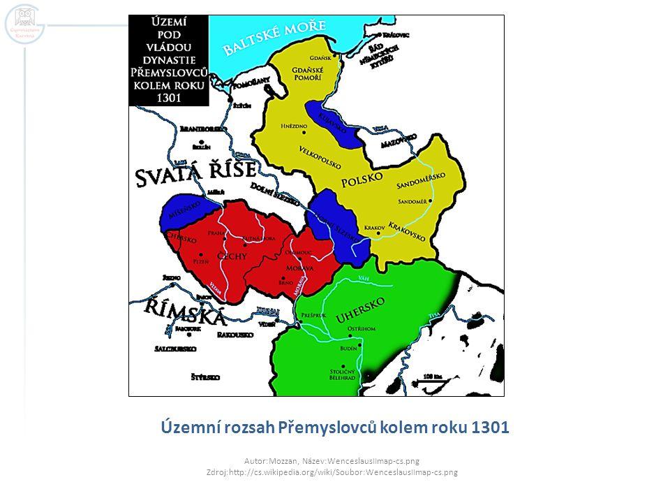 Územní rozsah Přemyslovců kolem roku 1301