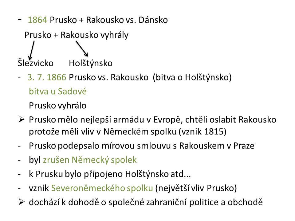 - 1864 Prusko + Rakousko vs. Dánsko