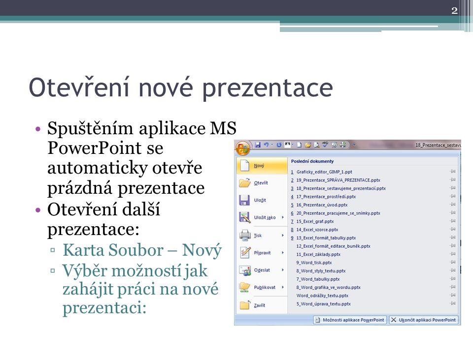 Otevření nové prezentace