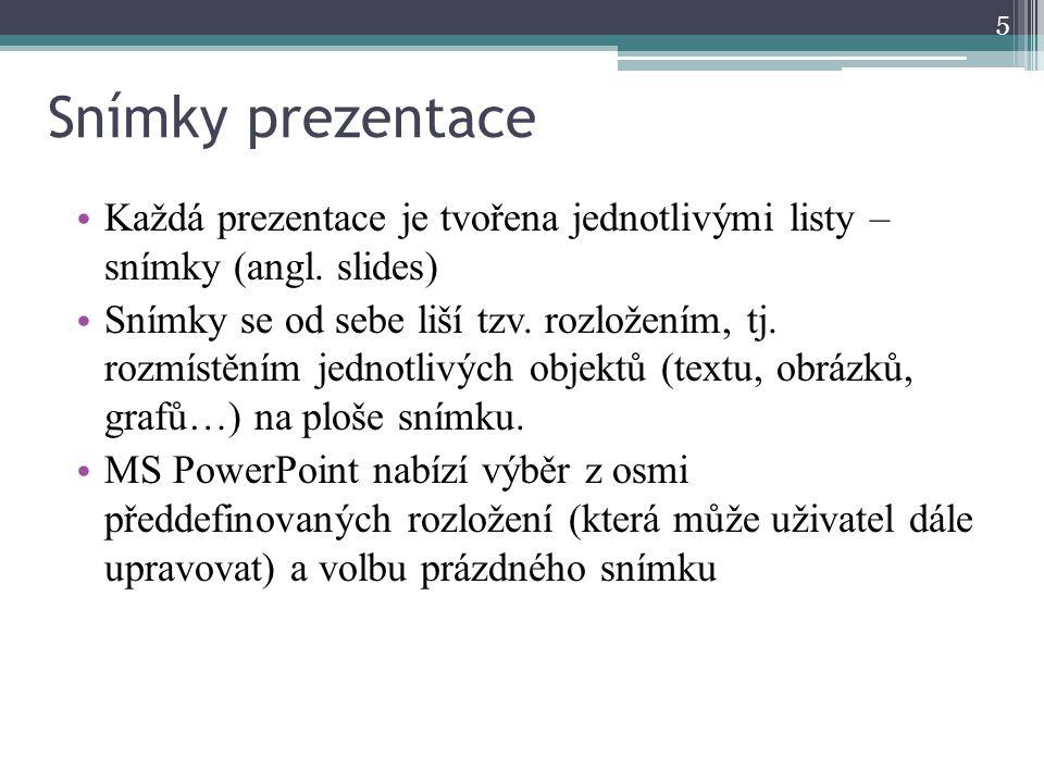 Snímky prezentace Každá prezentace je tvořena jednotlivými listy – snímky (angl. slides)