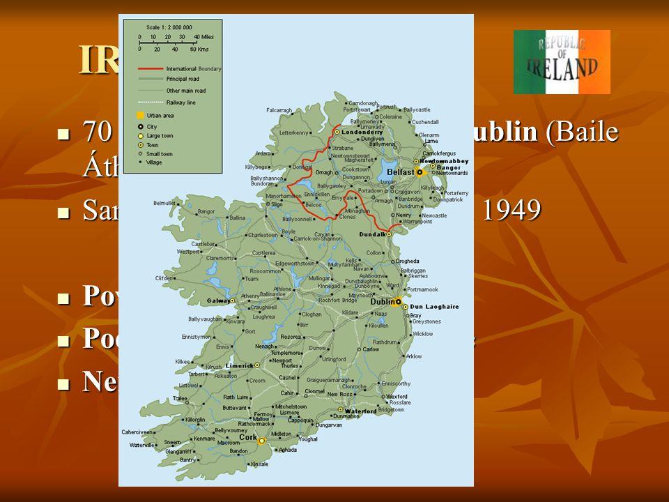 IRSKÁ REPUBLIKA 70 300 km2, 3,6 mil. obyvatel, Dublin (Baile Átha Cliath) Samostatnost na Británii od roku 1949.