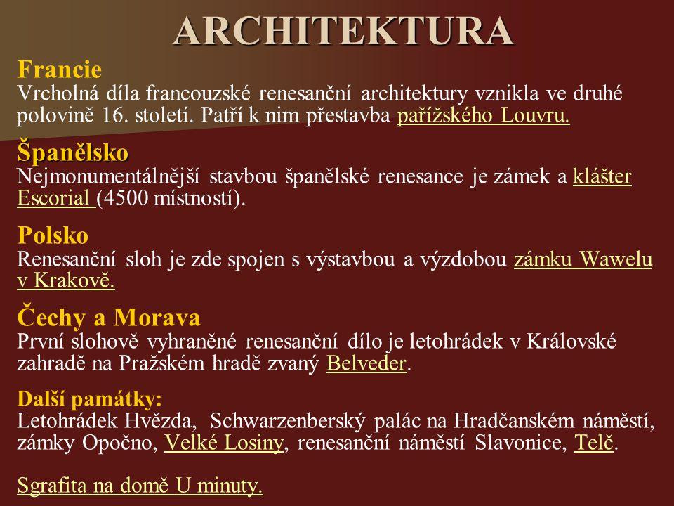 ARCHITEKTURA Francie Španělsko Polsko Čechy a Morava