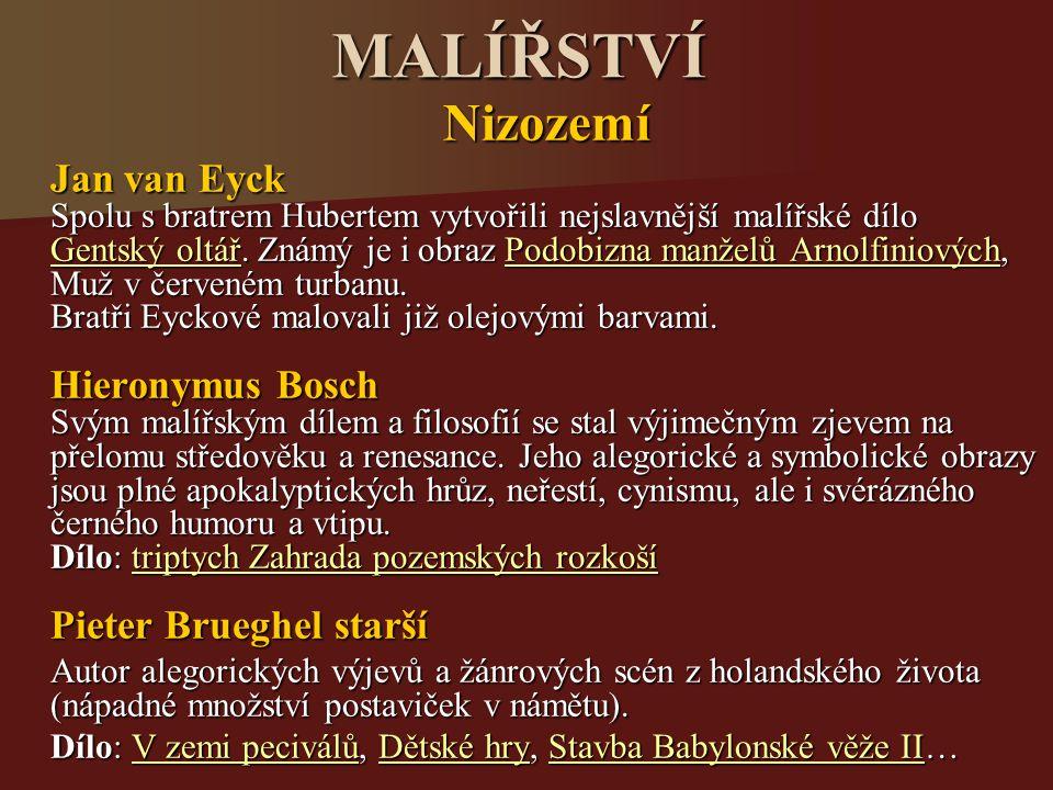 MALÍŘSTVÍ Nizozemí Jan van Eyck
