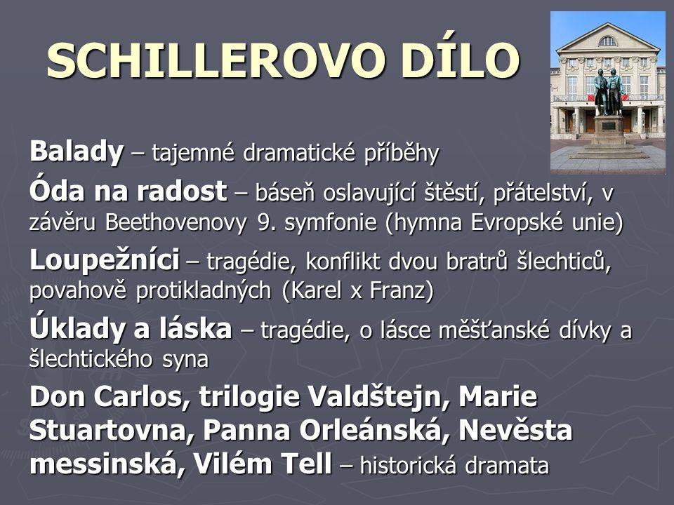 SCHILLEROVO DÍLO Balady – tajemné dramatické příběhy