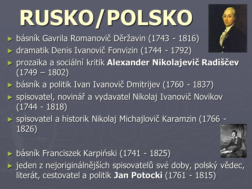 RUSKO/POLSKO básník Gavrila Romanovič Děržavin (1743 - 1816)