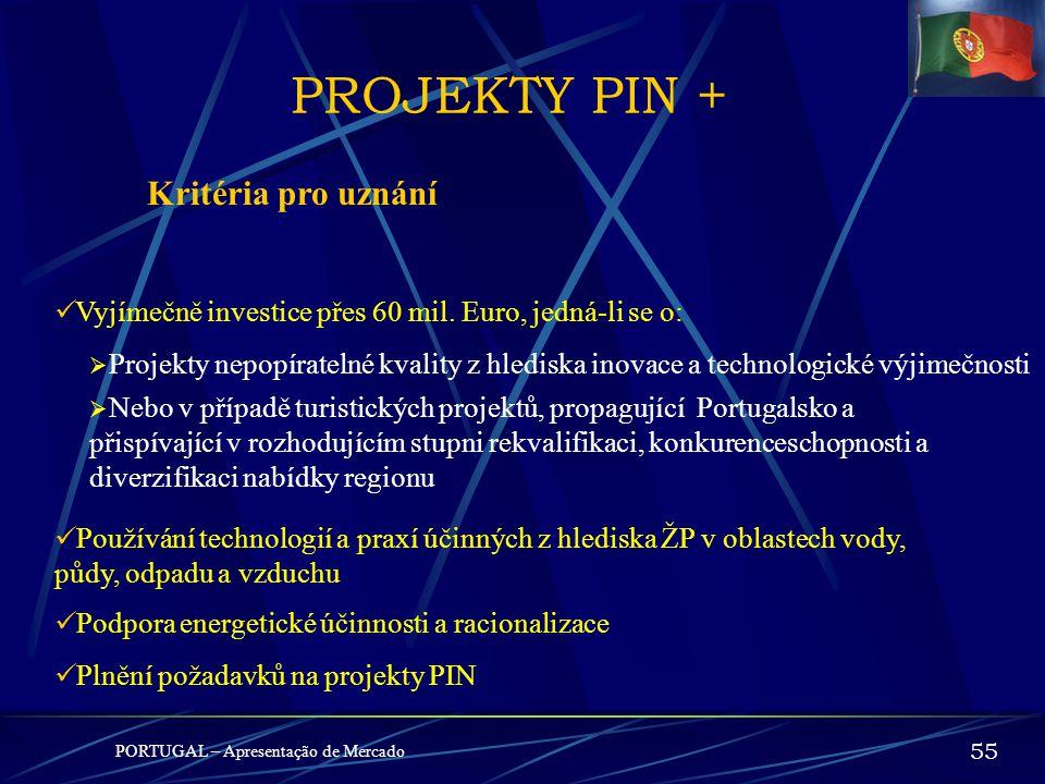 PROJEKTY PIN + Kritéria pro uznání