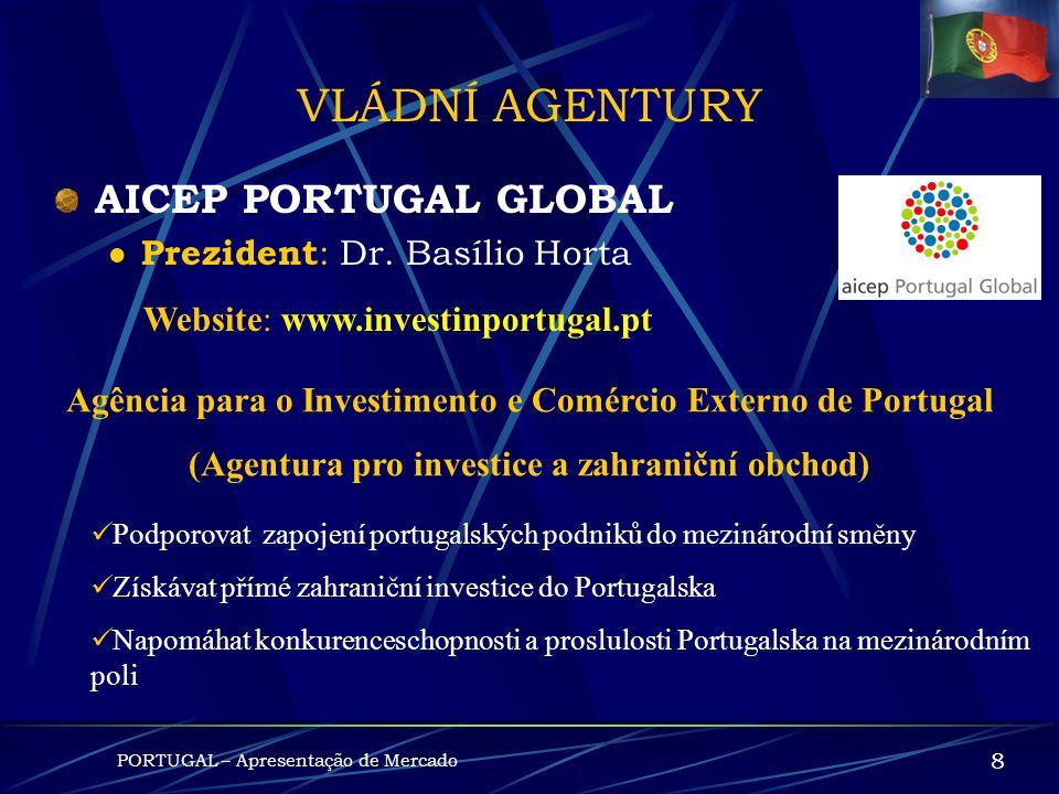 VLÁDNÍ AGENTURY AICEP PORTUGAL GLOBAL Prezident: Dr. Basílio Horta
