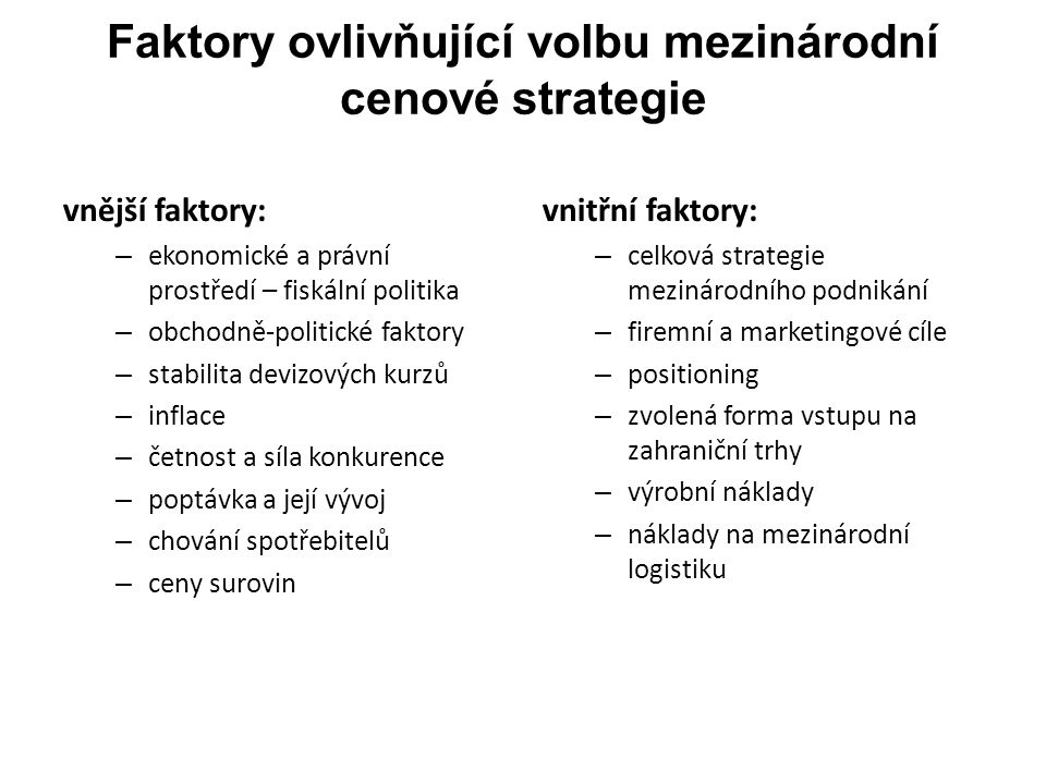 Faktory ovlivňující volbu mezinárodní cenové strategie