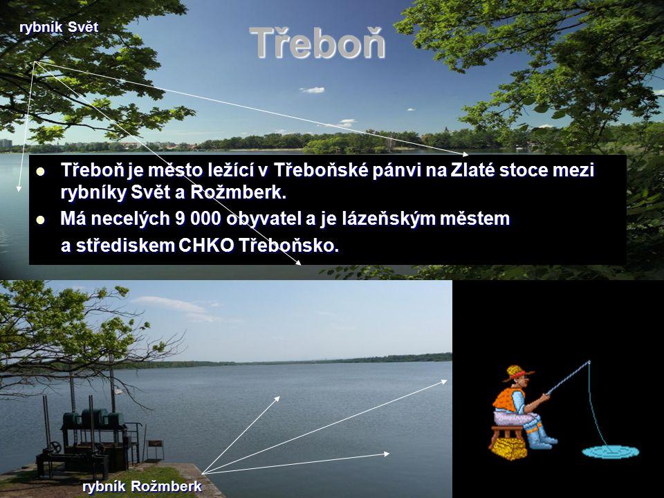 Třeboň rybník Svět. Třeboň je město ležící v Třeboňské pánvi na Zlaté stoce mezi rybníky Svět a Rožmberk.