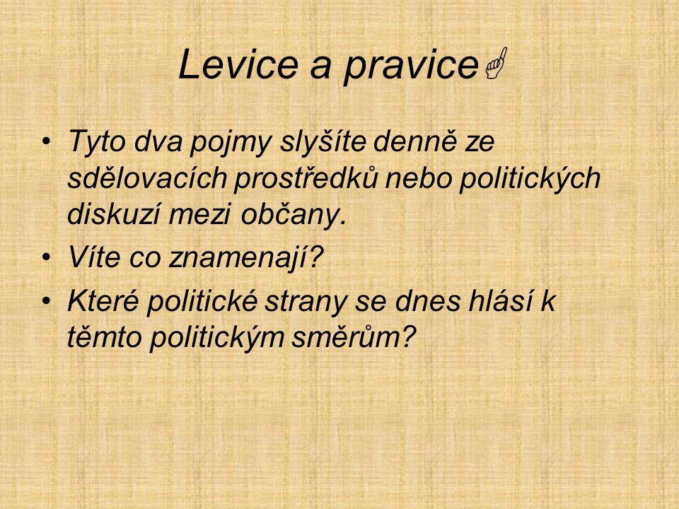 Levice a pravice Tyto dva pojmy slyšíte denně ze sdělovacích prostředků nebo politických diskuzí mezi občany.