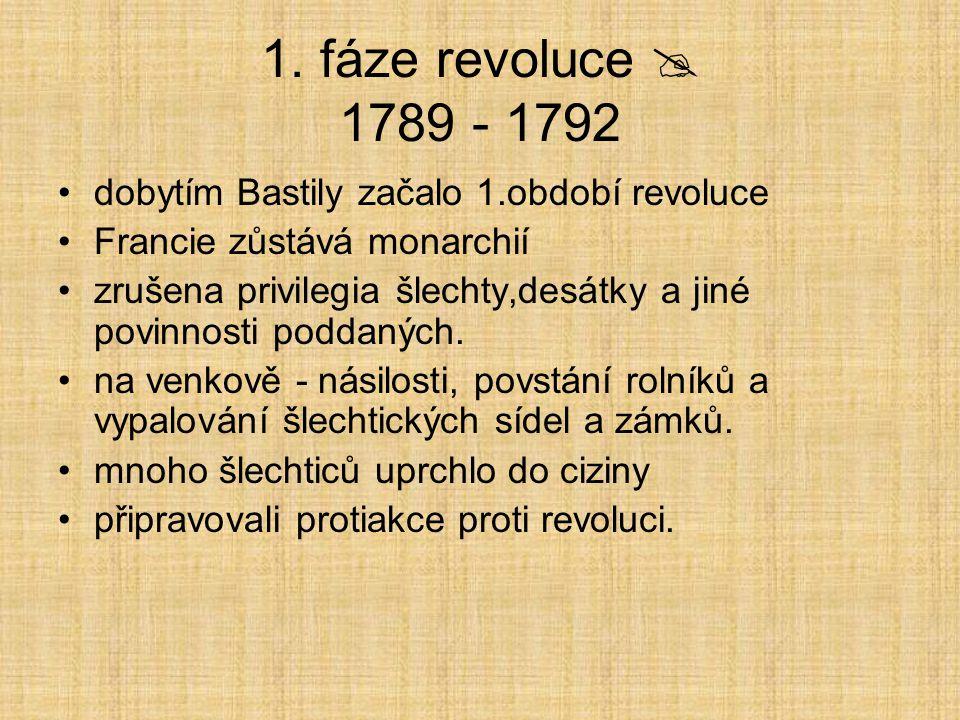 1. fáze revoluce  1789 - 1792 dobytím Bastily začalo 1.období revoluce. Francie zůstává monarchií.