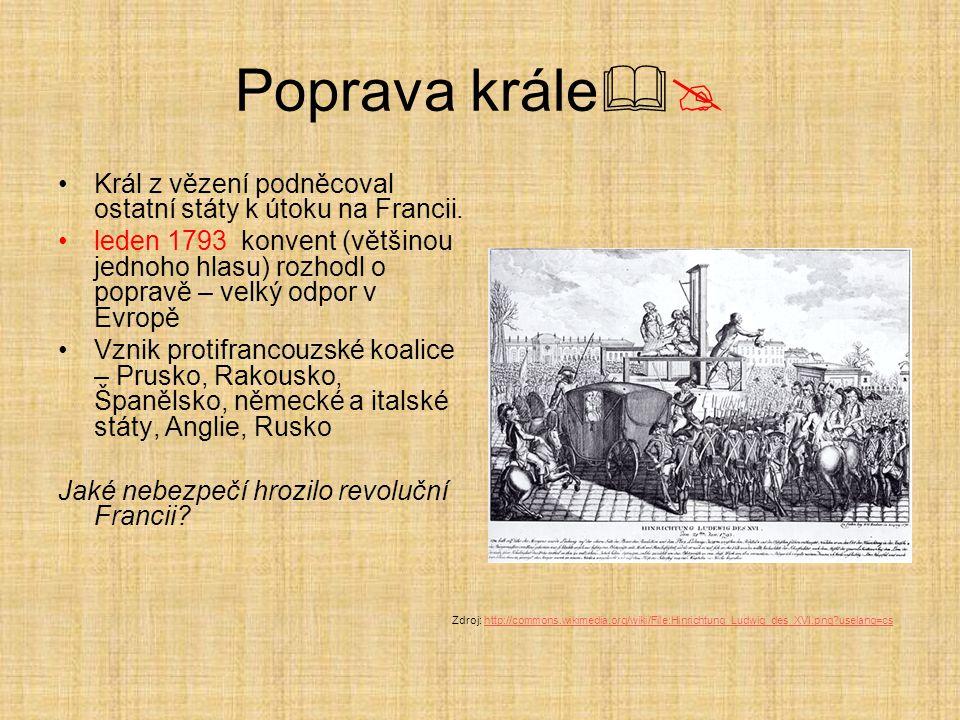 Poprava krále Král z vězení podněcoval ostatní státy k útoku na Francii.