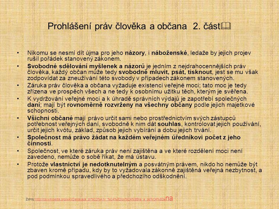 Prohlášení práv člověka a občana 2. část