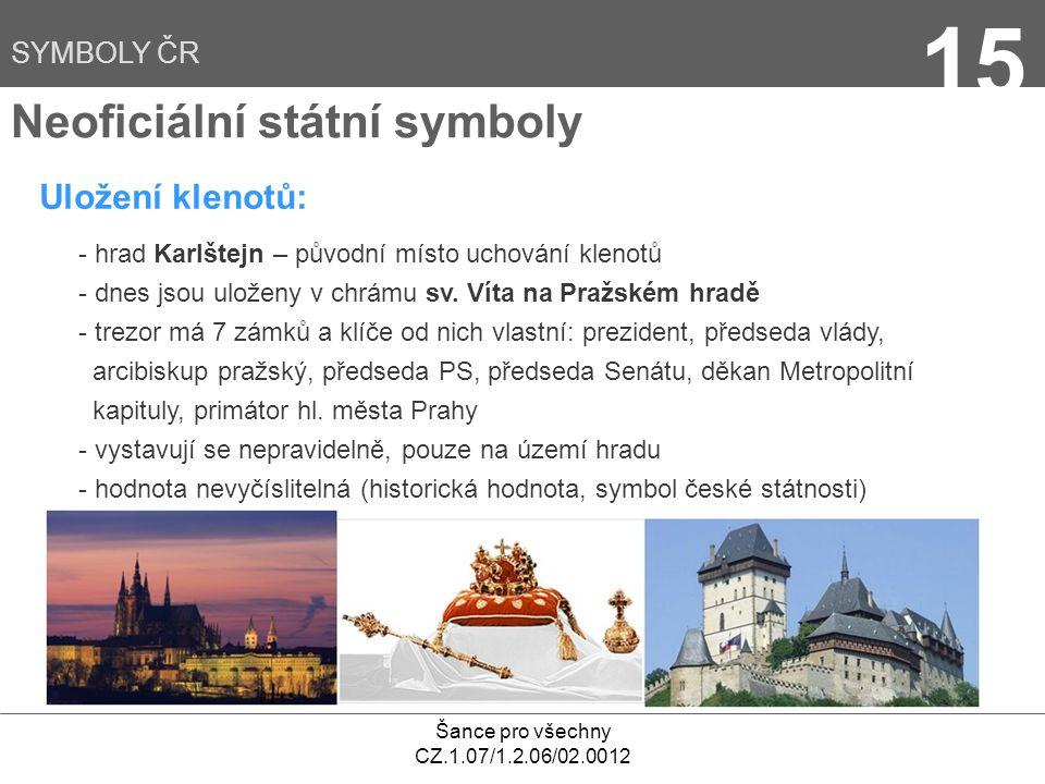 15 Neoficiální státní symboly Uložení klenotů: SYMBOLY ČR