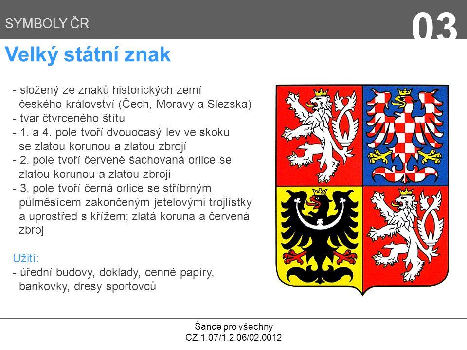 03 Velký státní znak SYMBOLY ČR - složený ze znaků historických zemí