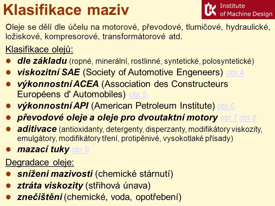 Klasifikace maziv Klasifikace olejů: