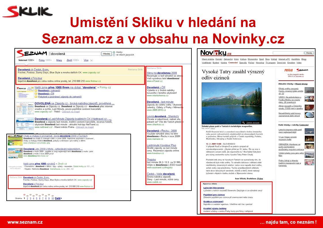 Umistění Skliku v hledání na Seznam.cz a v obsahu na Novinky.cz
