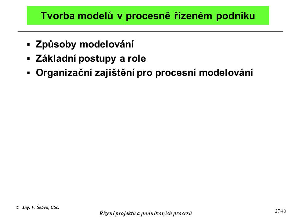 Tvorba modelů v procesně řízeném podniku