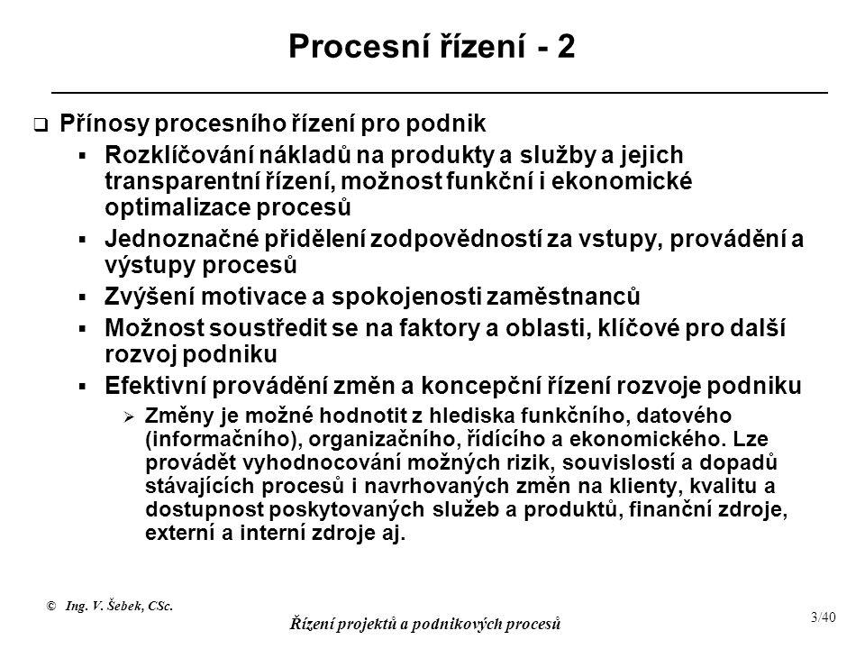 Procesní řízení - 2 Přínosy procesního řízení pro podnik