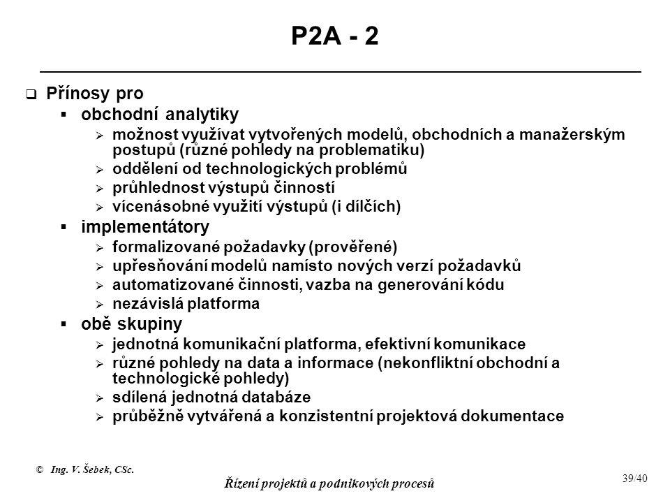 P2A - 2 Přínosy pro obchodní analytiky implementátory obě skupiny