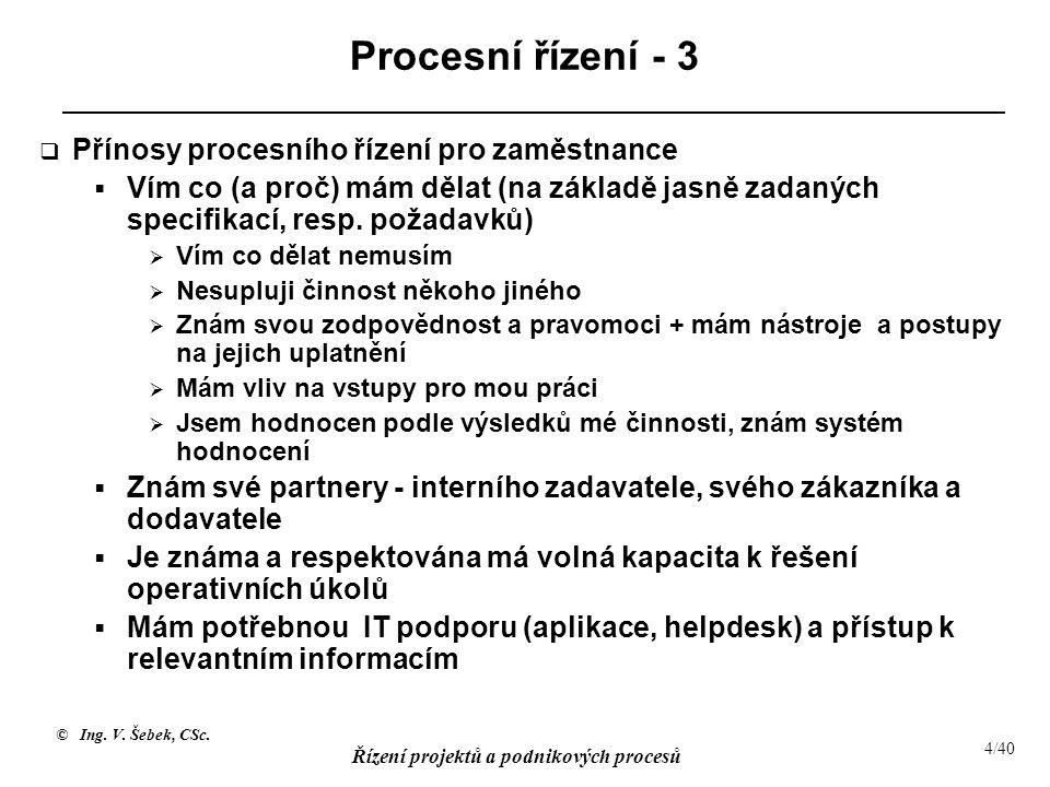 Procesní řízení - 3 Přínosy procesního řízení pro zaměstnance