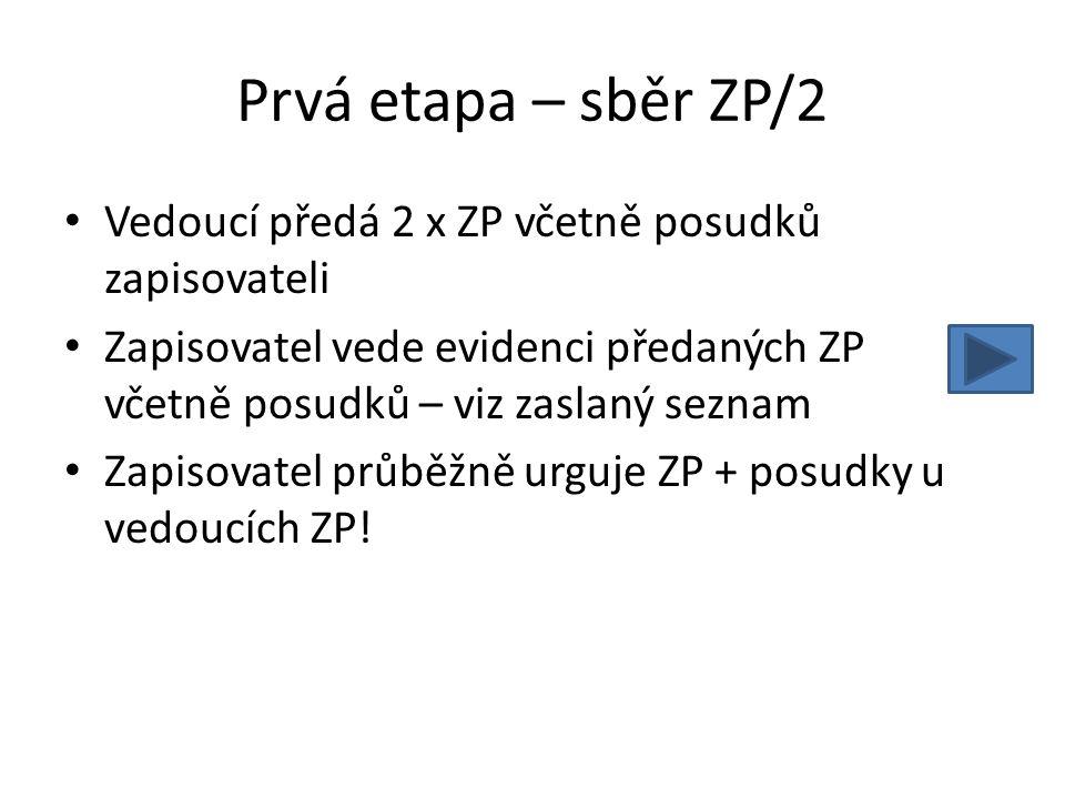 Prvá etapa – sběr ZP/2 Vedoucí předá 2 x ZP včetně posudků zapisovateli. Zapisovatel vede evidenci předaných ZP včetně posudků – viz zaslaný seznam.