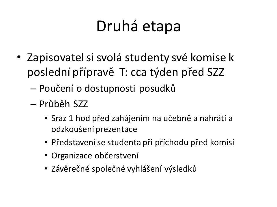 Druhá etapa Zapisovatel si svolá studenty své komise k poslední přípravě T: cca týden před SZZ. Poučení o dostupnosti posudků.