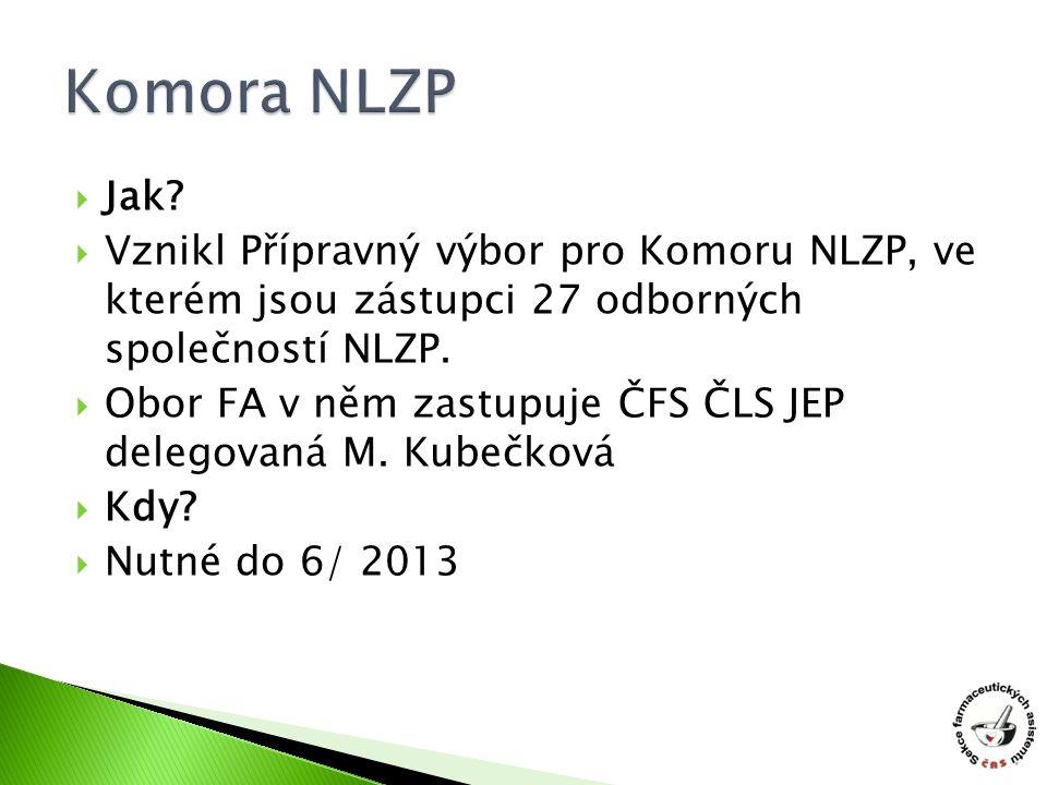 Komora NLZP Jak Vznikl Přípravný výbor pro Komoru NLZP, ve kterém jsou zástupci 27 odborných společností NLZP.