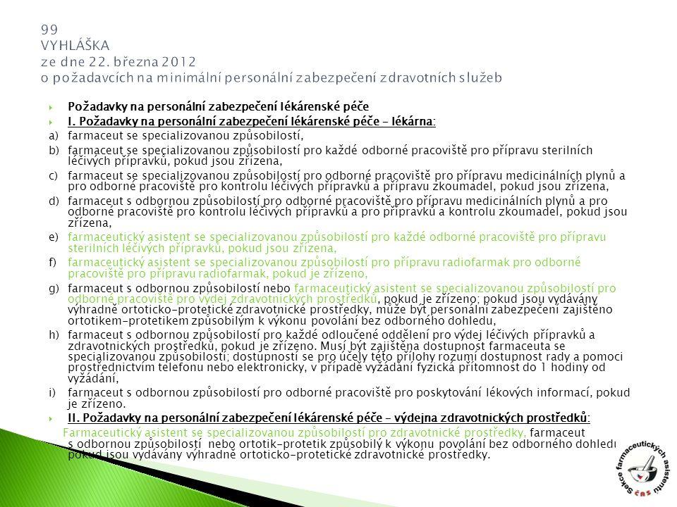 99 VYHLÁŠKA ze dne 22. března 2012 o požadavcích na minimální personální zabezpečení zdravotních služeb
