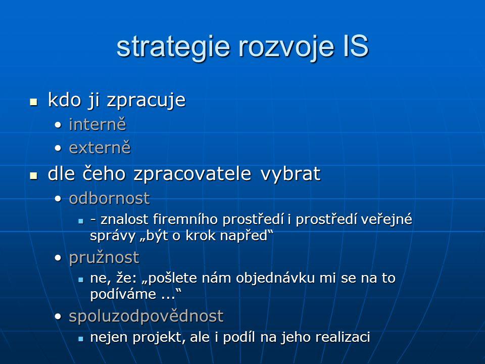strategie rozvoje IS kdo ji zpracuje dle čeho zpracovatele vybrat