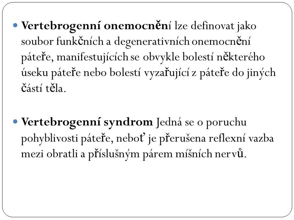 Vertebrogenní onemocnění lze definovat jako soubor funkčních a degenerativních onemocnění páteře, manifestujících se obvykle bolestí některého úseku páteře nebo bolestí vyzařující z páteře do jiných částí těla.