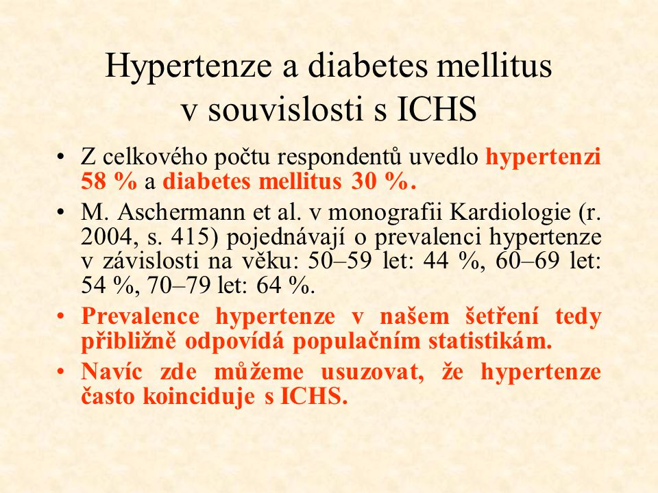 Hypertenze a diabetes mellitus v souvislosti s ICHS
