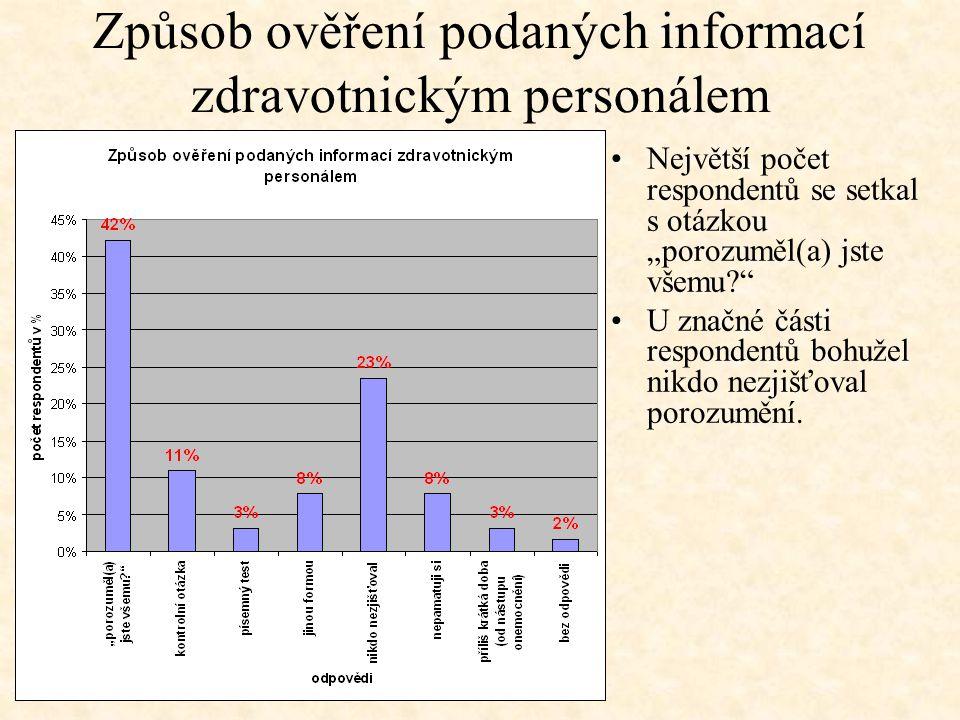 Způsob ověření podaných informací zdravotnickým personálem