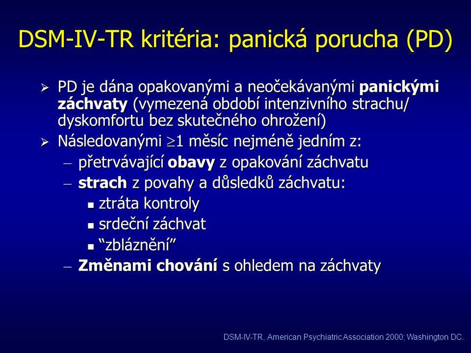 DSM-IV-TR kritéria: panická porucha (PD)