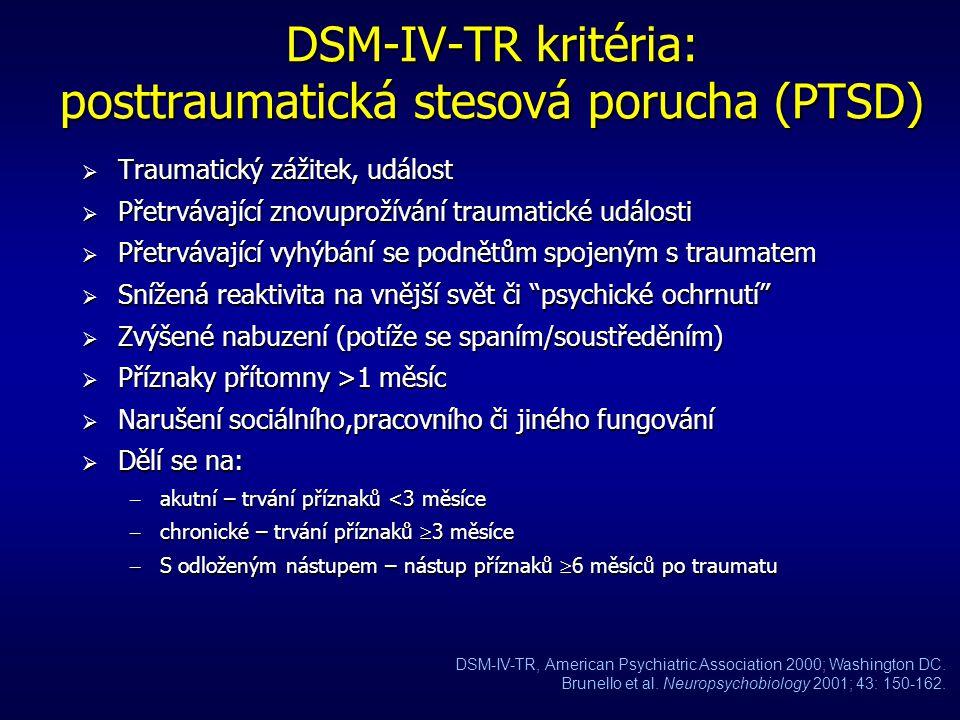 DSM-IV-TR kritéria: posttraumatická stesová porucha (PTSD)