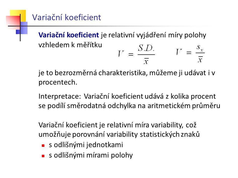 Variační koeficient Variační koeficient je relativní vyjádření míry polohy. vzhledem k měřítku.