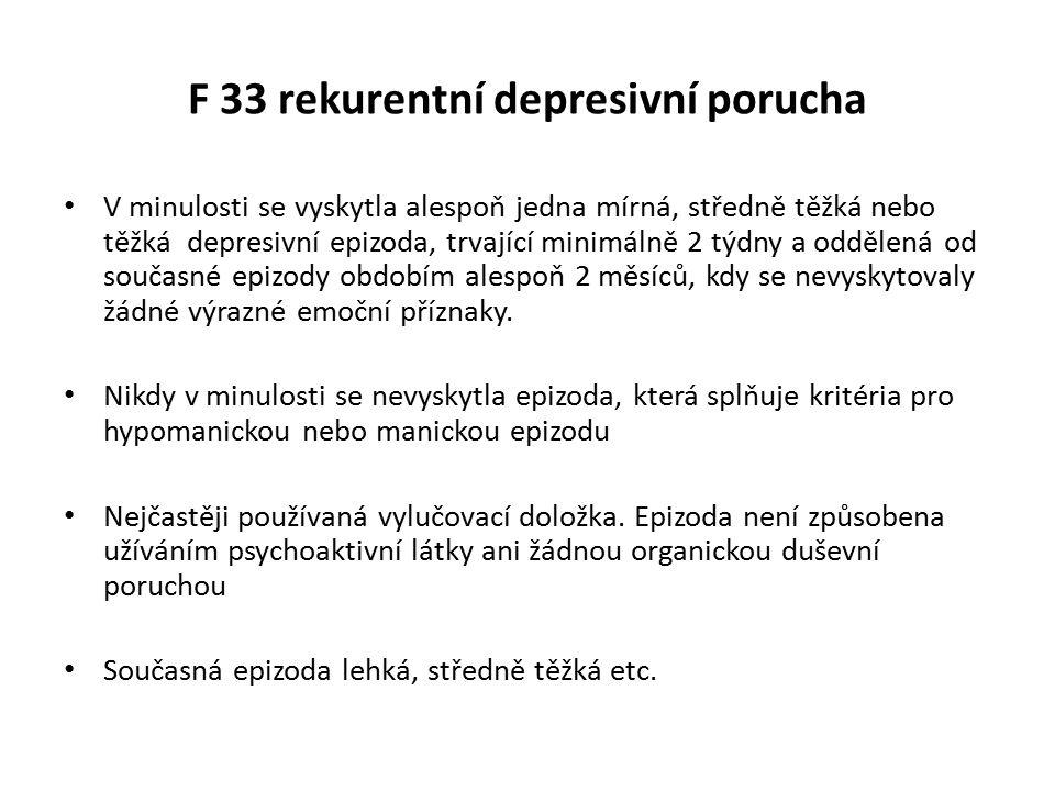 F 33 rekurentní depresivní porucha