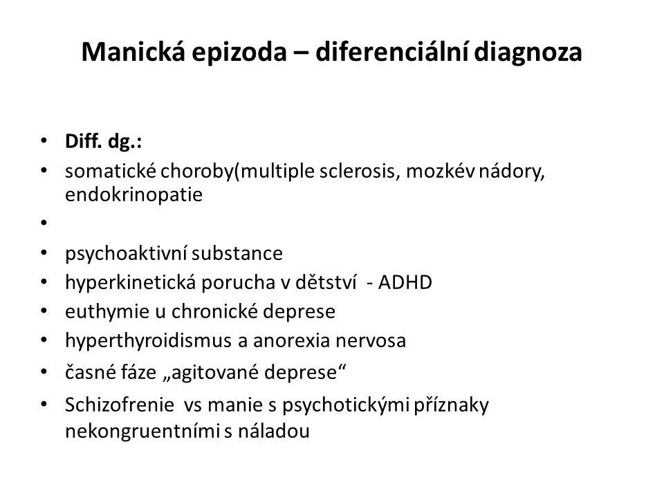 Manická epizoda – diferenciální diagnoza