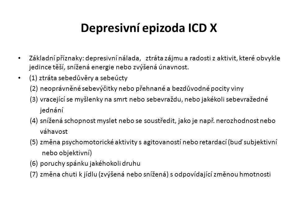 Depresivní epizoda ICD X