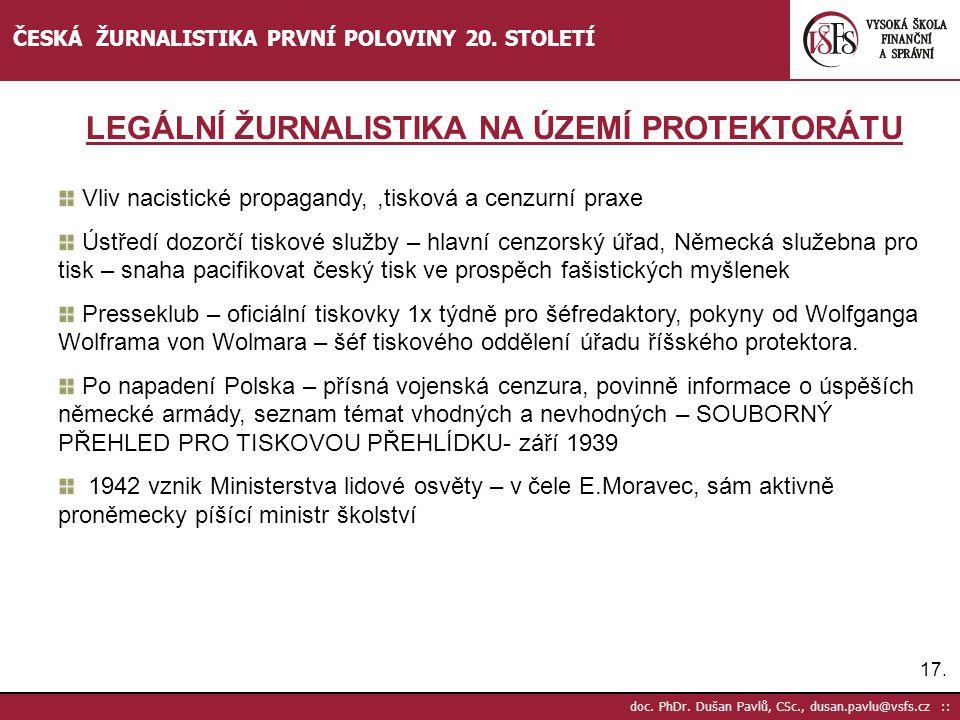 LEGÁLNÍ ŽURNALISTIKA NA ÚZEMÍ PROTEKTORÁTU