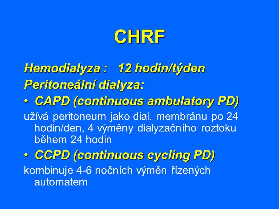 CHRF Hemodialyza : 12 hodin/týden Peritoneální dialyza: