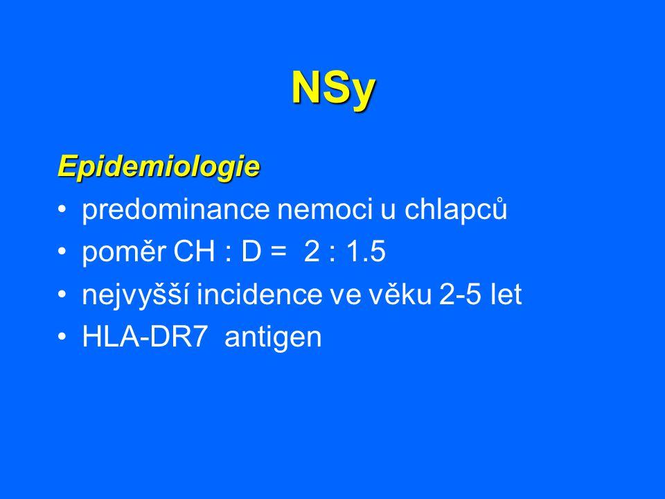 NSy Epidemiologie predominance nemoci u chlapců poměr CH : D = 2 : 1.5