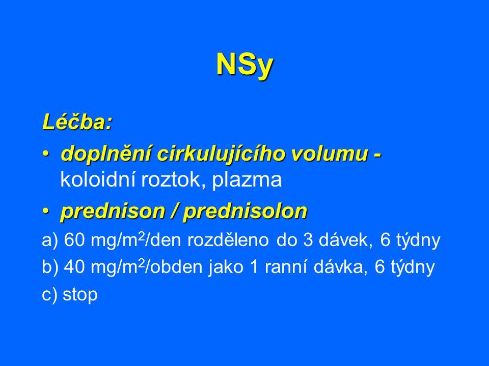 NSy Léčba: doplnění cirkulujícího volumu - koloidní roztok, plazma
