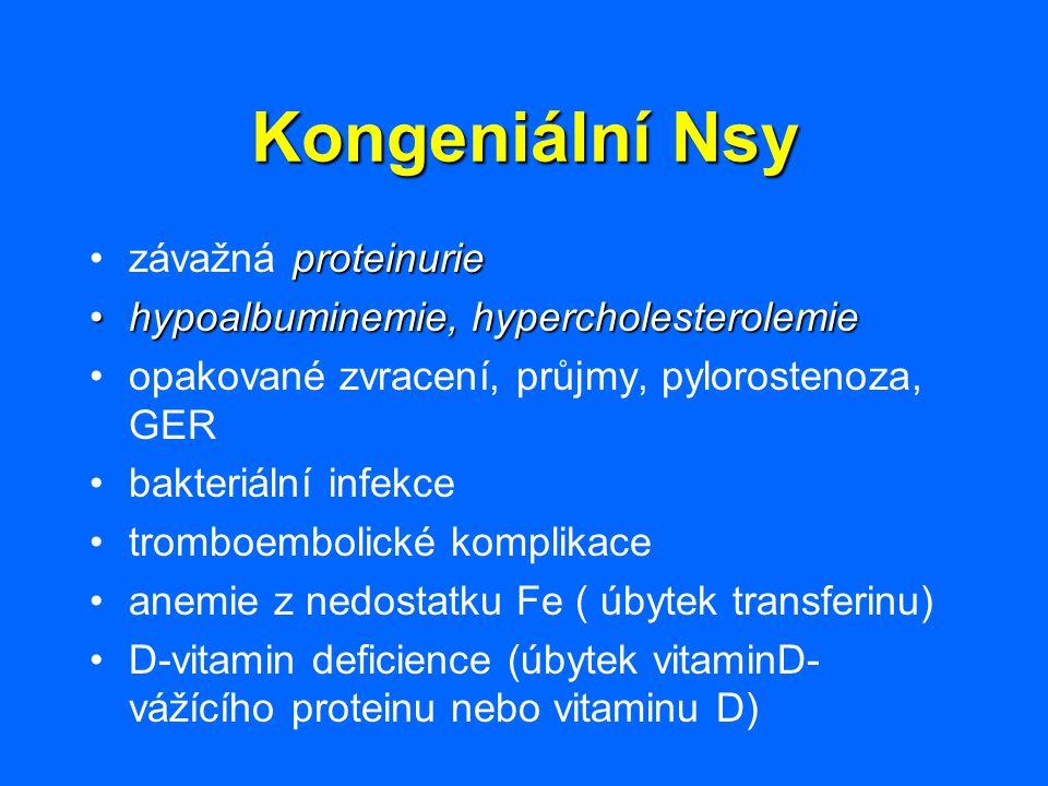 Kongeniální Nsy závažná proteinurie