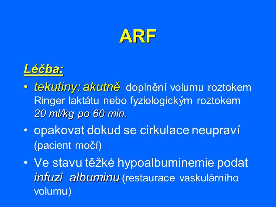 ARF Léčba: tekutiny: akutně doplnění volumu roztokem Ringer laktátu nebo fyziologickým roztokem 20 ml/kg po 60 min.