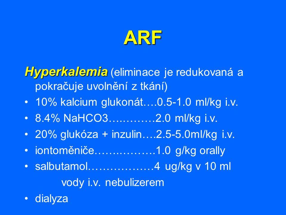 ARF Hyperkalemia (eliminace je redukovaná a pokračuje uvolnění z tkání) 10% kalcium glukonát….0.5-1.0 ml/kg i.v.