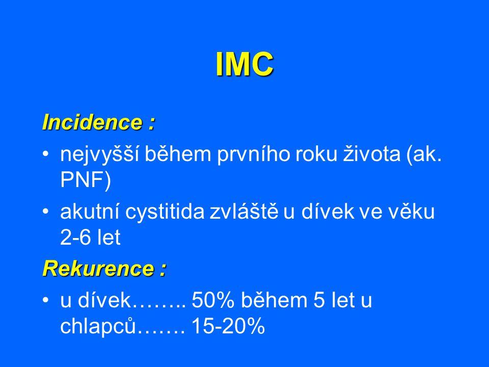 IMC Incidence : nejvyšší během prvního roku života (ak. PNF)